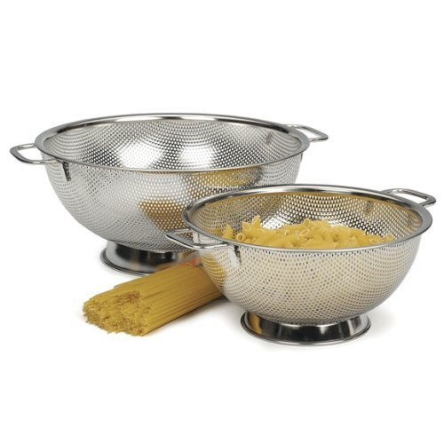 RSVP Precision Pierced Stainless-Steel 3 and 5-Quart Colander Set