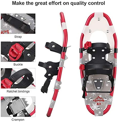 """Gpeng 3-in-1 Xtreme Lightweight Terrain Snowshoes for Men Women Youth Kids, Light Weight Aluminum Alloy Terrain Snow Shoes with Trekking Poles and Carrying Tote Bag, 14""""/21""""/ 25""""/27""""/ 30"""""""