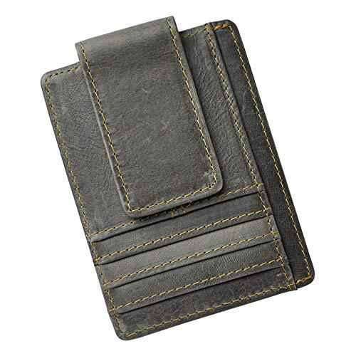Le'aokuu Genuine Leather Magnet Money Clip Credit Card Case Holder Slim Wallet (Grey 2 RFID) (Luggage Money Clip)