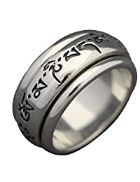 "Energy Stone ""MANTRA"" Sterling Silver Spinning Wheel Prayer Meditation Ring (Style SR24)"