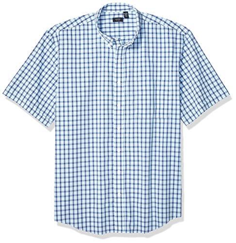 Arrow 1851 Men's Big and Tall Hamilton Poplins Short Sleeve Button Down Plaid Shirt, Aqua Splash, X-Large