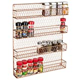 4-Tier Copper-Tone Country Rustic Chicken Wire Pantry, Cabinet or Wall Mounted Spice Rack Storage Organizer
