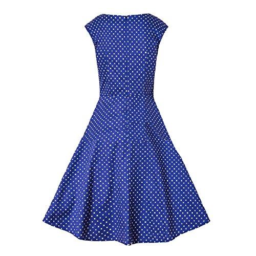 Coolred-femmes Parti Pique-nique Robes De Style Hepburn Swing Pur Tunique Couleur Bleu Clair