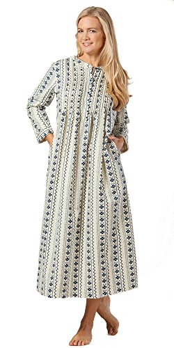 La Cera 100% Cotton Flannel Nightgown in Cozy Lodge (Medium (10-12), Ivory/Navy)