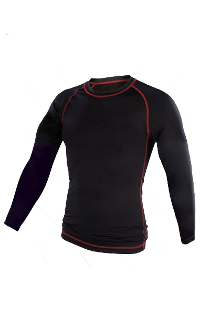Youth MMA Rash Guard - Long Sleeve (Black/Red, Youth Small)