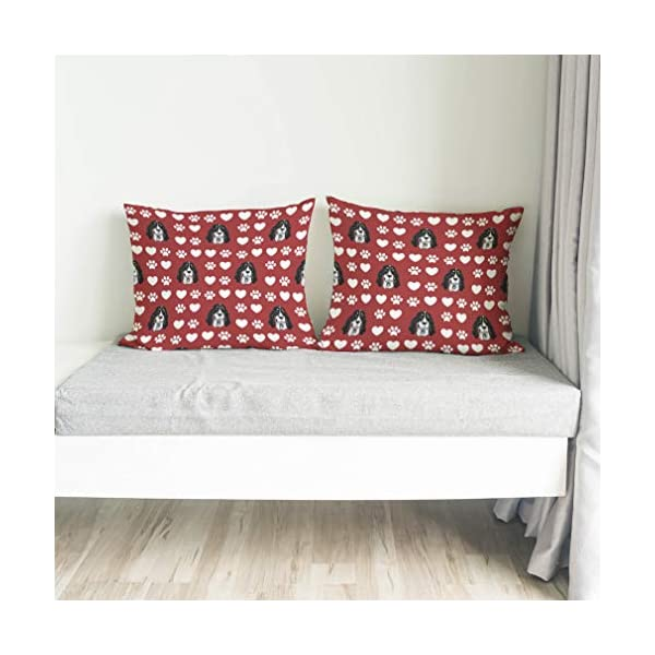 Style In Print Personalized Pillow Case Ariegeois Dog Red Paw Heart Polyester Pillow Cover 20INx28IN Design Only Set of 2 4