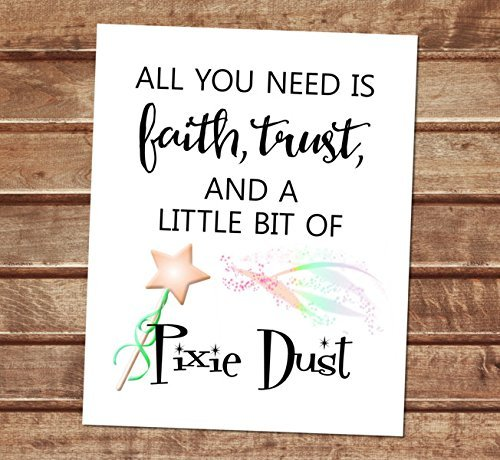All You Need Is Faith, Trust, And A Little Pixie Dust - J. M. Barrie, Peter Pan Quote Art Print, Whimsical Fairy Wand Wall Art, Unframed Print, 8