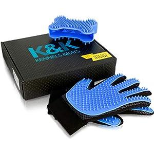 [Premium]K&K Pet Grooming Glove Gift Set. Deshedding Glove for Easy, Mess-Free Grooming of Pets with Long/Short/Curly fur. 1 Pair Gentle,Pet Hair Remover Mitt+FREE Bath Brush & Storage Bag 65