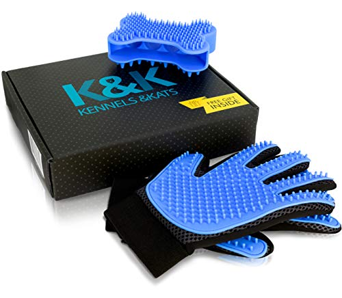 - [Premium]K&K Pet Grooming Glove Gift Set. Deshedding Glove for Easy, Mess-Free Grooming of Pets with Long/Short/Curly fur. 1 Pair Gentle,Pet Hair Remover Mitt+FREE Bath Brush & Storage Bag