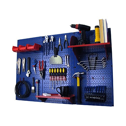 Pegboard Organizer Wall Control 4 ft. Metal Pegboard Standard Tool Storage Kit with Blue Toolboard and Red ()