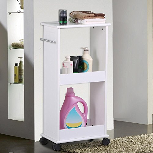 Topeakmart Mobile Storage Cart Toilet Shelf Space Saving Slim Rolling Bathroom Laundry Rack