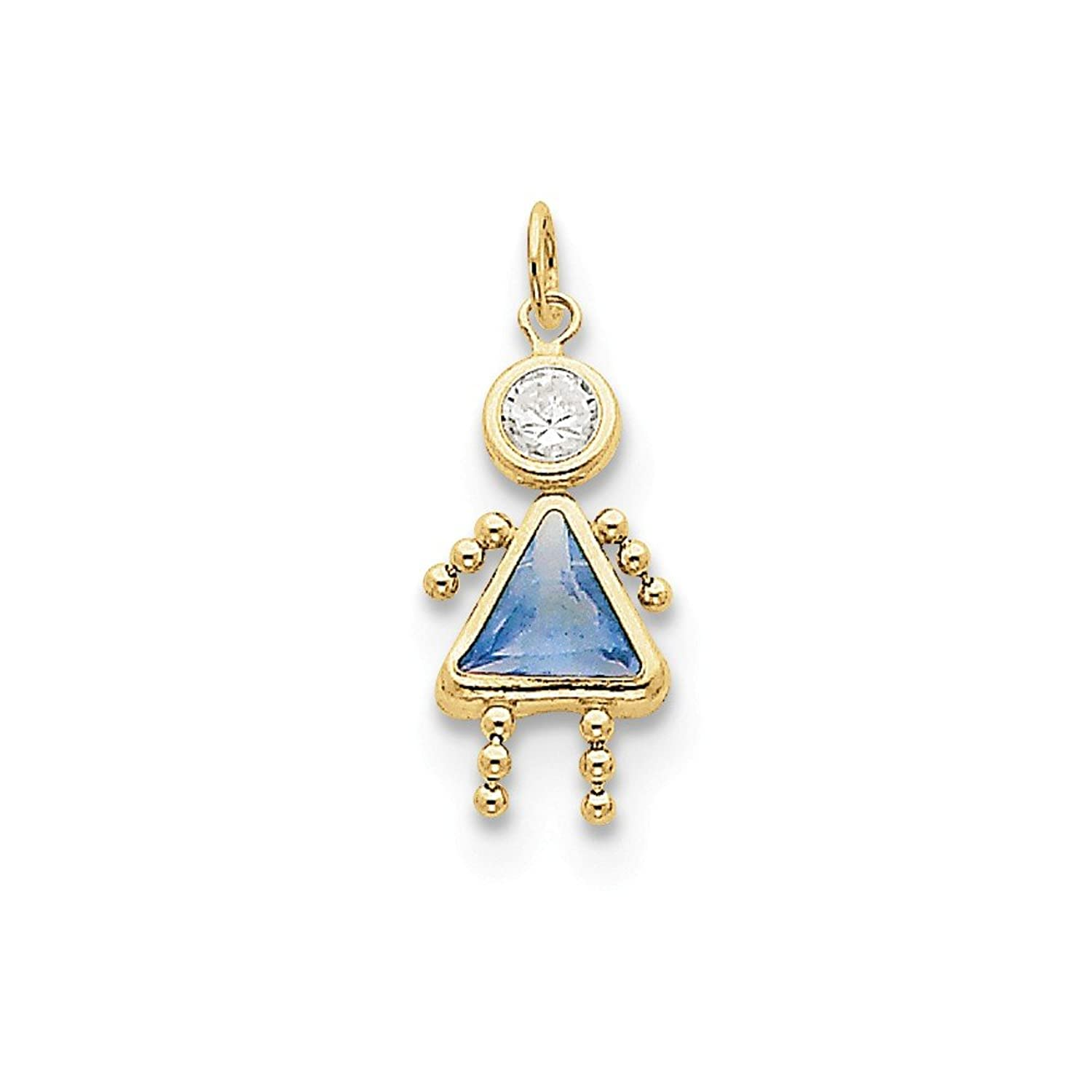 10k Yellow Gold Synthetic Stone March Girl Birthstone Charm Length 20mm