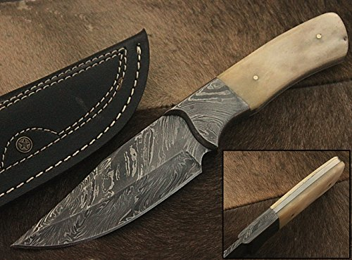 (RA-9002 Custom made damascus steel hunting knife bone handle, damascus bolster, with real leather sheath.)