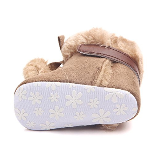 HUHU833 Kinder Mode Baby Stiefel Soft Sole, Keep Warm Schnee Stiefel, Crochet Knit Fleece Boot Schnee Krippe Schuhe Winter Stiefel (0-18 Month) Kaffee