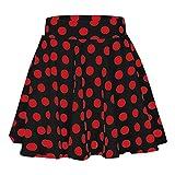 EINCcm Women Above Knee Mini Skirt, Polka Dot Print Skirt Elastic Waist Casual Short Summer Skirt for Party Cocktail Beach(Black, S)