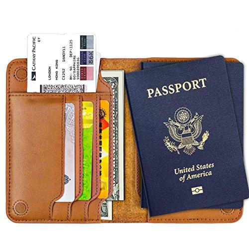 iLooben Travel Passport Holder Cover, Genuine Leather ID Card Wallet Case, Document Organizer (Brown) by iLooben