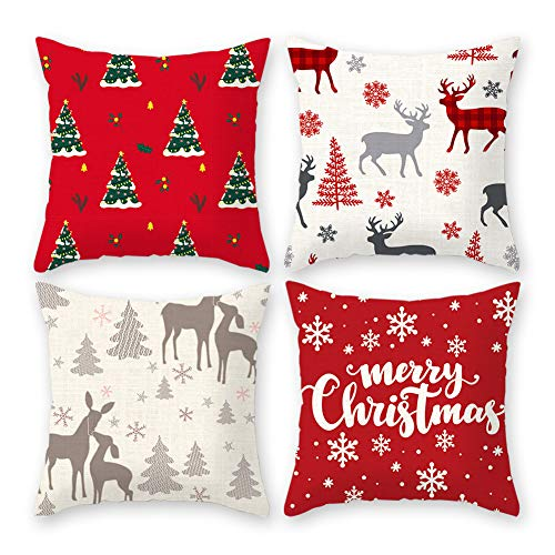 Imandale Christmas Cushion Covers Navidad Decorations for Living Room, Christmas Decorations Throw Pillow Covers 18x18 Inches Set of 4 for Home, Dorm, Car (White&Red1) (Reindeer Cushion)