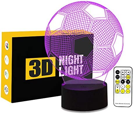 Cirkooh Sport Soccer Football three-D Optical Illusion Lamp 7 Colors Change Remote Control and Touch Button LED Table Desk Night Light for Bedroom Decoration
