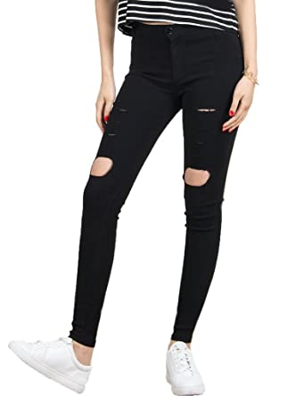 5a3b978e6314e CR Women's Black Skinny Ripped Distressed High Waist Cotton Jeans,Small