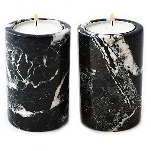 Price comparison product image Set of 2 Marble Cylinder Tealight Holders