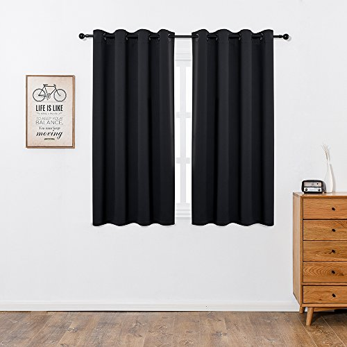 Series Flexible Grommet Material (Anjee [HOT SALE] Blackout Window curtains (2 Panels), Light-Lock 2.0 Series Thermal Insulated Grommet Curtain Panels Drapes for Living Room and Bedroom, 2 Panels, W52 x L63 Inches, Black)