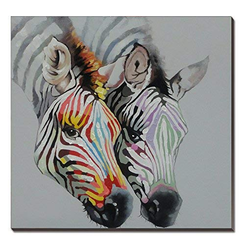 3Hdeko-Large Zebra Wall Decor for Home Living Room Teen Bedroom Office Modern Horse Picture Funny Animal Face Canvas Artwork Rainbow Animal Wall Art Hand Painted Wildlife Oil Painting-Ready to Hang
