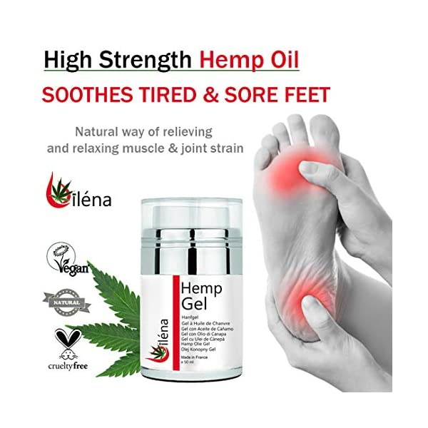 Oïléna Gel Massage Cream pain relief muscle & joint care with hemp seed oil and essential oils rosemary, Get back pain relief, knee, foot cream 50 ml
