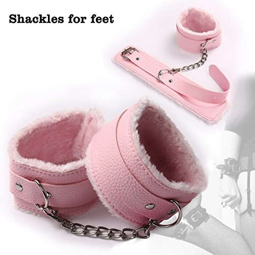 Premium Bondage Restraint, Bed Sex SM Bondage System Leather Set Romance Blindfold whips handcuffs Toys Adults For Men &Women Couple, 10 Pieces (pink) by KFXD (Image #4)