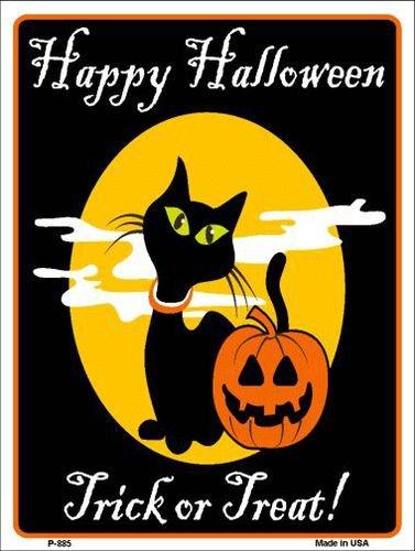 Pride Plates Happy Halloween Black Cat Metal Novelty Parking Sign P-885]()