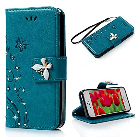 Mavis's Diary for iPhone 5S Case, iPhone SE / 5, 3D Handmade Wallet Embossed Butterfly Floral Bling Crystal Diamonds Teal PU Leather Flip Cover & Wrist Strap Card Slots, A iPhone 5s Case for (Flip Cover Iphone 5 Bling)