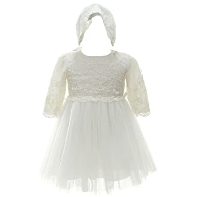 0d6848bab5273 Coozy Baby Girl Longsleeve Dresses Princess Wedding Birthday Party Formal Christening  Baptism Dress (3M/
