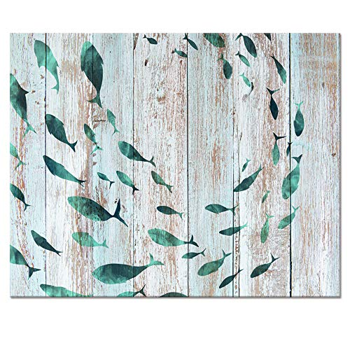 Visual Art Decor Abstract Sealife Canvas Wall Art Prints Gallery Wrapped Ready to Hang for Coastal Bedroom Home Office Wall Decoration (03 Shoal of Fish, 16