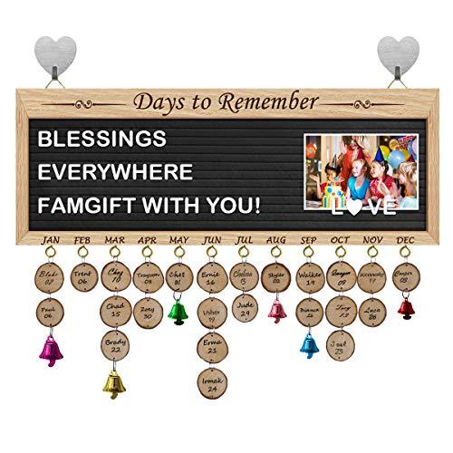 FamGift Birthday Gifts Family Decoration Calendar [Multi Function Message Board/Personalized Letters&Symbols/Decorative Bells/Black Felt], Birthday & Important Days Tracker Plaque(New Black) (Symbols Decorative)