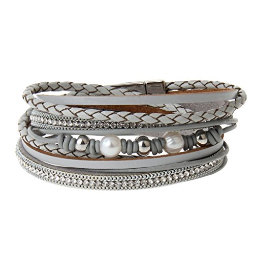COOLLA Jewelry Fashion Women Bracelet Woven Pearls Wrap Bracelet with Magnetic Clasp (Fashion Magnetic Unisex Bracelet)