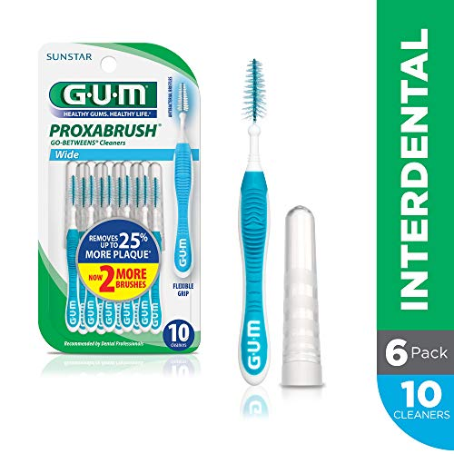 GUM Proxabrush Go-Betweens Interdental Brushes, Wide, 10 Count (Pack of 6)