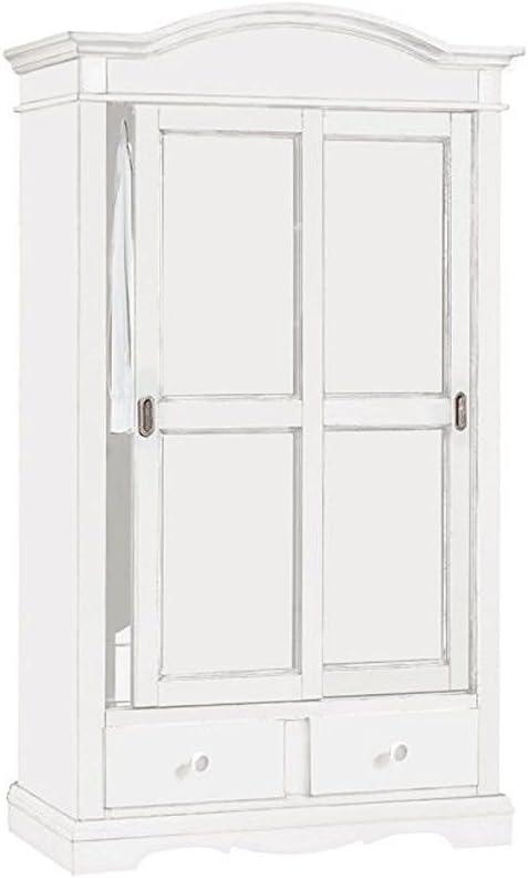 Clásico armario blanco con 2 puertas correderas y cajones. 122 x ...