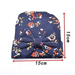 BQUBO Floral Bow Newborn Hat Newborn Hospital Hat Infant Baby Hat Cap with Big Bow Soft Cute Knot Nursery Beanie, Pack 2, 3, 4 (Blue1, Navy1, Red1)