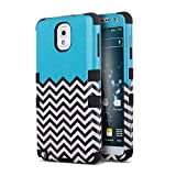 Galax Note 3 Case, Note 3 Case,ULAK Colorful Pattern Hybrid Hard Plastic + Soft Silicone Protection Case for Samsung Galaxy Note 3 / Note iii N9000 (Wave-Black)