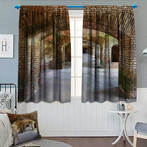 Chaneyhouse Vintage Room Darkening Curtains Brick Arches Dry Tortugas Old Fort Historic Heritage Tourist Attraction Vintage Design Customized Curtains 72