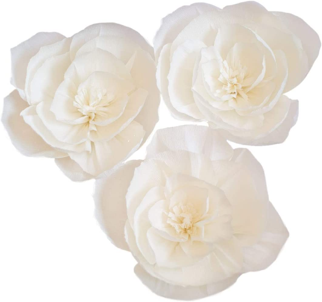 3PCS Crepe Paper Flowers Paper Flower Decoration Handcrafted Flowers Party Wedding Backdrop Flower for Nursery Baby Showers Birthday Photo Backdrop Bridal Shower Centerpiece (8inch, White)