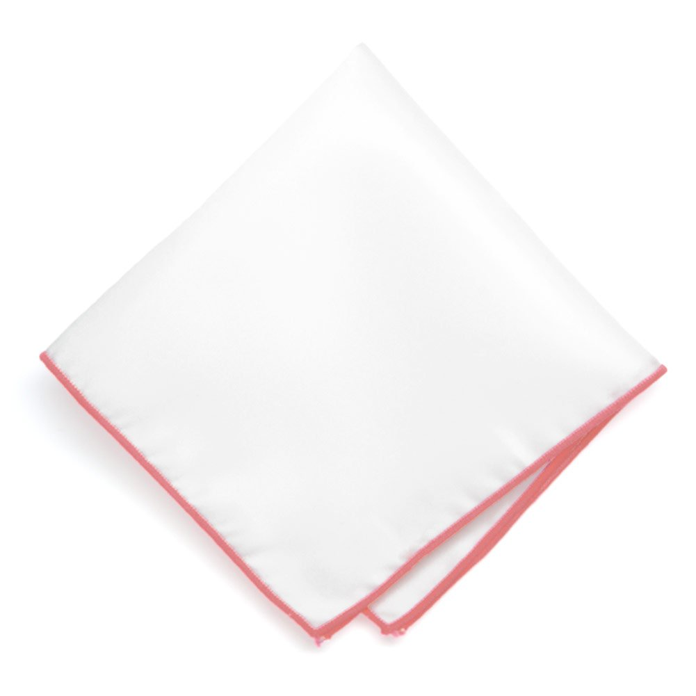 TieMart Coral Tipped White Pocket Square