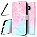 Galaxy S6 Edge Stand Case,Samsung Galaxy S6 Edge Wallet Case,Galaxy S6 Edge Flip Case,SKYMARS Samsung Galaxy S6 Edge Cover Marble Creative Design PU Leather Flip Kickstand Cards Slot Wallet Magnet Stand Case for Samsung Galaxy S6 Edge Pink Green Marble