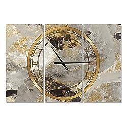 Designart Glam Gold Desert Neutral Wall Art Design Modern 3 Panel Wall Decorative Clock - Home Decorations for Home, Living Room,Bedroom, Office Decoration Multi Panel Metal Wall Clock