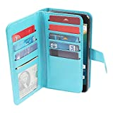 NextKin LG Google Nexus 5X Case, Premium PU Leather Dual Wallet Folio TPU Silicone Cover, 2 Large inner Pockets Double flap Privacy, 9 Card Slots Holder Magnetic Closure - Sky Blue