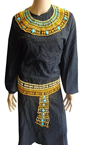 Set Necklace & Belt Egyptian Cleopatra Scarab Beetle Pharaoh Pharaonic Beaded Multi Beads Halloween Christmas Costume Collar Jewelry Ancient Egypt Accessory Belly Dance Nefertiti Accessories ()