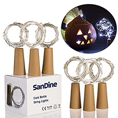 20 Led String Lights - White Cork Bottle Lights - Warm Decorative Lights for Every Party Occasion - Multi Purpose Indoor Outdoor Lights - Perfect Saint Valentine Day Decoration - Set of 6 by Sandine