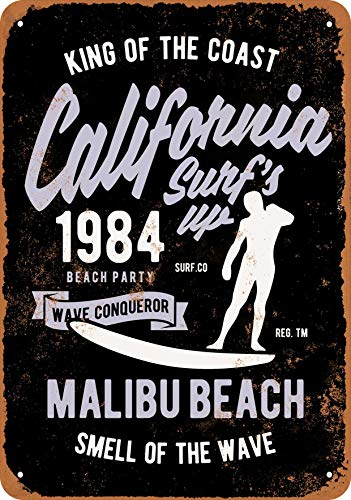 California Vintage Surf Sign - 7 x 10 Metal Sign - California Surf's Up Malibu Beach (Black Background) - Vintage Look