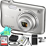 Nikon COOLPIX S3700 Waterproof Digital Camera (Silver) PRO BUNDLE & Prime Seller Microfiber Cloth