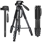 Neewer Portable 70 inches/177 centimeters Aluminum Alloy Camera Tripod Monopod with 3-Way Swivel Pan Head,Carrying Bag for Canon Nikon Sony DSLR,DV Video Camcorder Load Capacity 8.8 pounds/4 kilograms