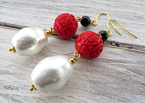 White pearl earrings, red cinnabar earrings, black agate earrings, drop earrings, oriental jewelry